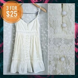 Romantic Cream Floral Lace Button Front Tunic F21
